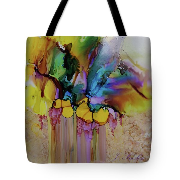 Tote Bag featuring the painting Explosion Of Petals by Joanne Smoley