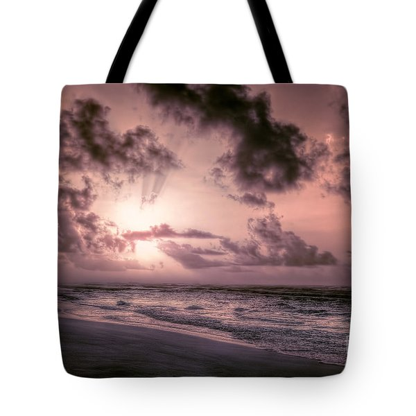 Explosive Sunrise On Ocracoke Outer Banks Tote Bag by Dan Carmichael