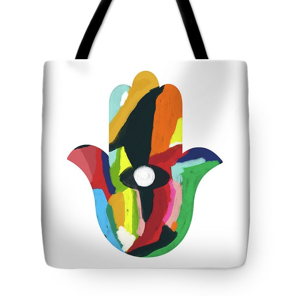 Tote Bag featuring the mixed media Expressionist Hamsa- Art By Linda Woods by Linda Woods