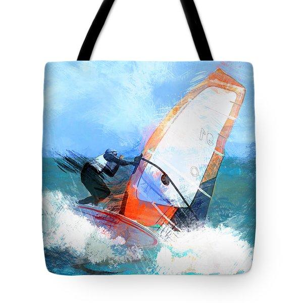 Expressionist Orange Sail Windsurfer  Tote Bag by Elaine Plesser