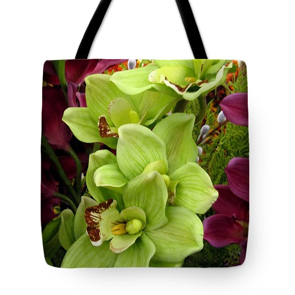 Tote Bag featuring the painting Expressive Botanical Orchids 715 by Mas Art Studio