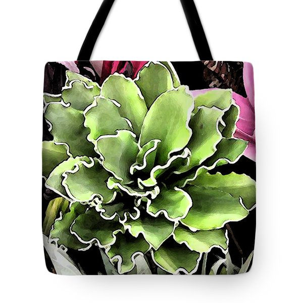 Tote Bag featuring the painting Expressive Digital Tropical Floral Photo 001a by Mas Art Studio