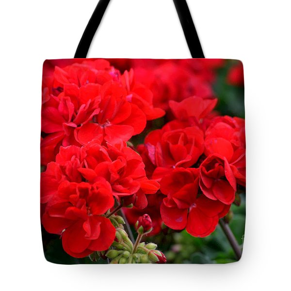 Tote Bag featuring the painting Expressive Floral Red Geraniums E131716  by Mas Art Studio