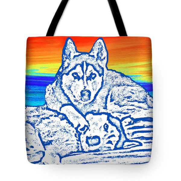 Tote Bag featuring the painting Expressive Huskies Mixed Media C51816 by Mas Art Studio