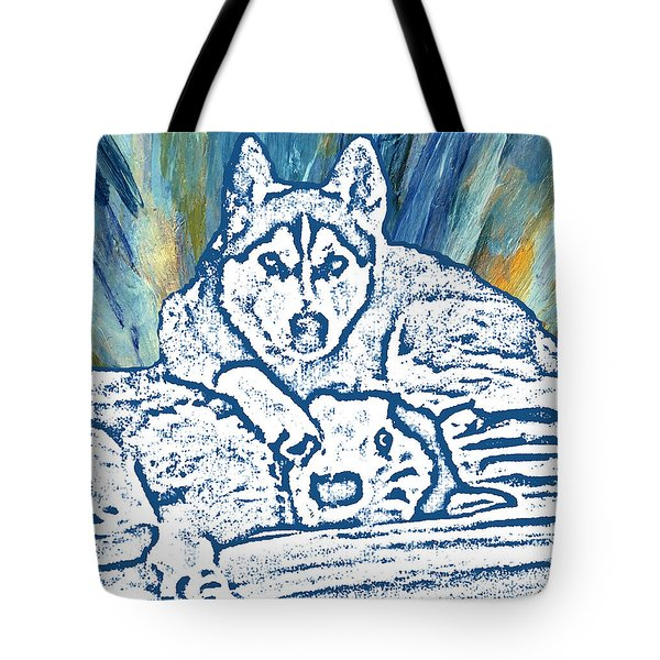 Tote Bag featuring the painting Expressive Huskies Mixed Media F51816 by Mas Art Studio