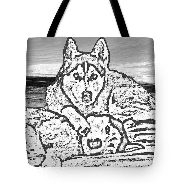 Tote Bag featuring the photograph Expressive Huskies Mixed Media G51816_e by Mas Art Studio