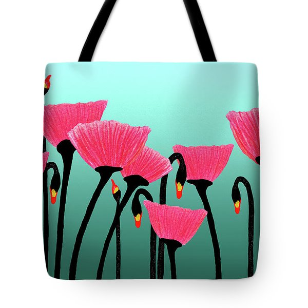 Expressive Red Pink Green Poppy Painting Y1a Tote Bag