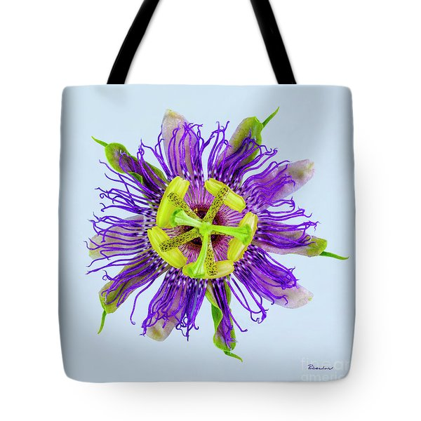 Expressive Yellow Green And Violet Passion Flower 50674b Tote Bag