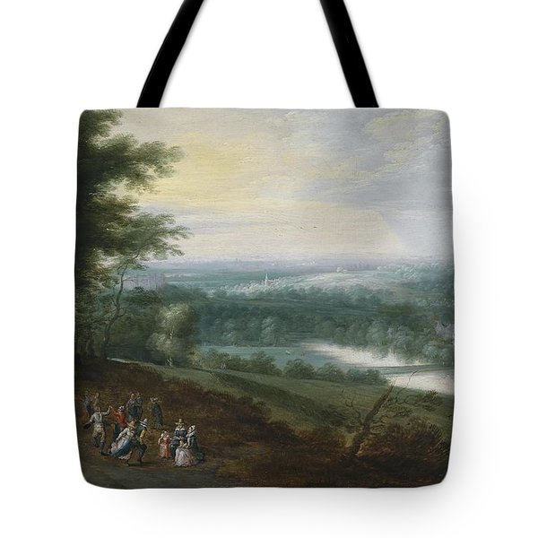 Extensive River Landscape With Travelers And Dancing Peasants On A Path Tote Bag
