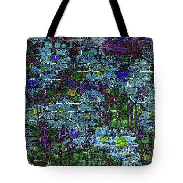 Extraordinary Blue Daisies Graffiti On A Brick Wall Tote Bag