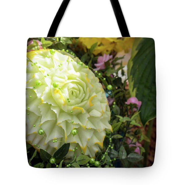 Extravagant Jeweled Dishes - Carved Melon Flower With Green Pearls Tote Bag