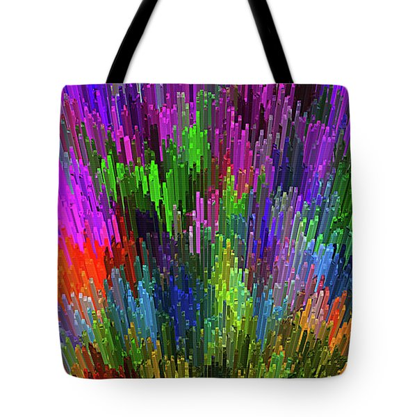 Tote Bag featuring the digital art Extruded City Of Color By Kaye Menner by Kaye Menner