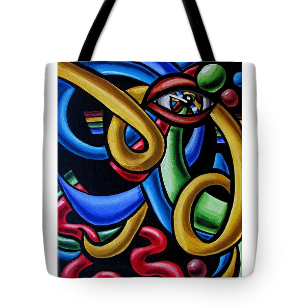 Eye Art Print Chromatic Abstract Art Painting Colorful Optical Artwork  Tote Bag