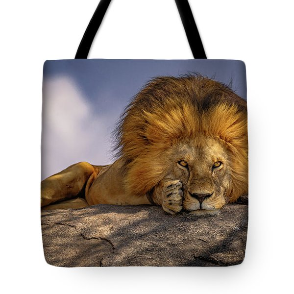 Eye Contact On The Serengeti Tote Bag