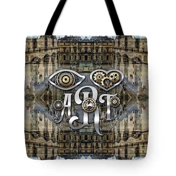 Eye Heart Art Louvre Silver Paris Da Vinci Gears Tote Bag