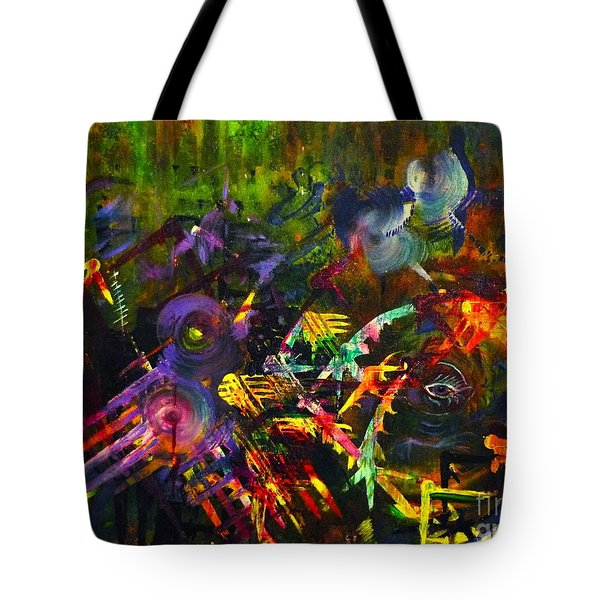 Tote Bag featuring the painting Eye In Chaos by Claire Bull
