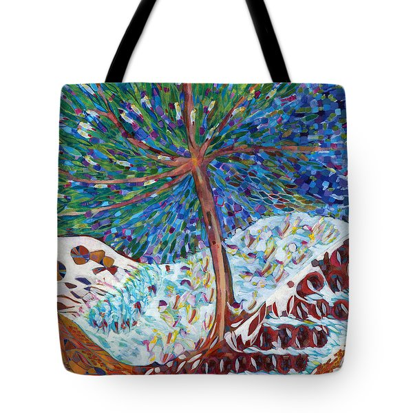 Tote Bag featuring the painting Himalaya Code - Eye by Linda Cull