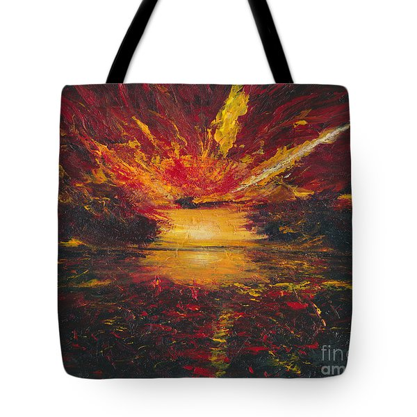 Tote Bag featuring the painting Eye Of The Storm by Ania M Milo