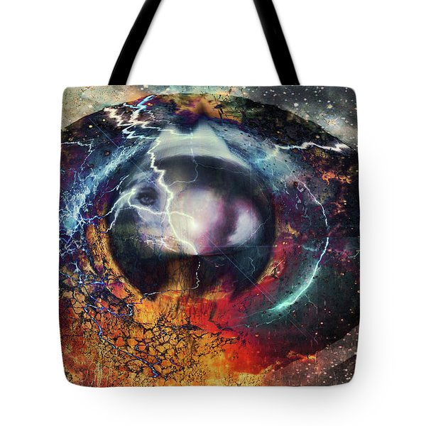 Tote Bag featuring the digital art Eye Of The Storm by Linda Sannuti