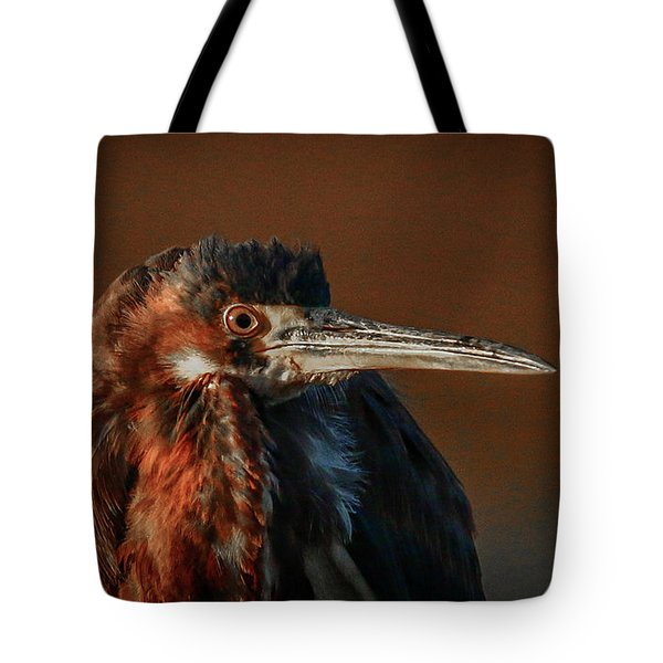 Tote Bag featuring the photograph Eye To Eye With Heron by Tom Claud