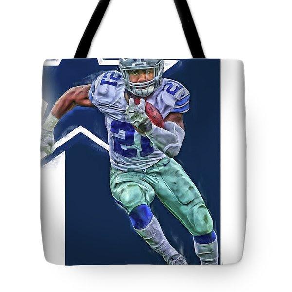 Ezekiel Elliott Dallas Cowboys Oil Art Series 3 Tote Bag