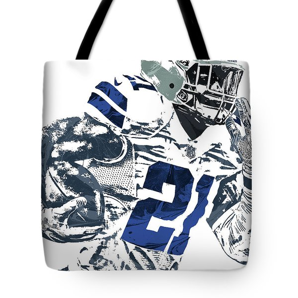 Tote Bag featuring the mixed media Ezekiel Elliott Dallas Cowboys Pixel Art 6 by Joe Hamilton
