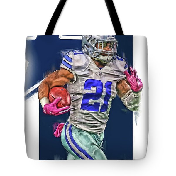 Ezekiel Elliotte Dallas Cowboys Oil Art Tote Bag