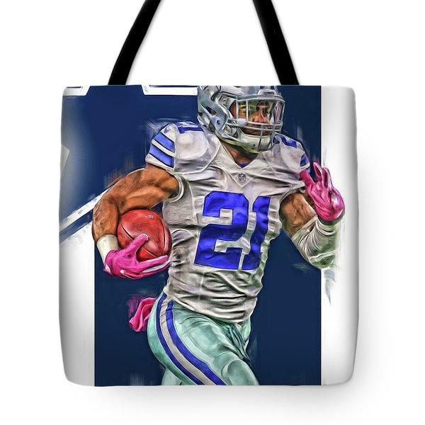 Ezekiel Elliotte Dallas Cowboys Oil Art Tote Bag