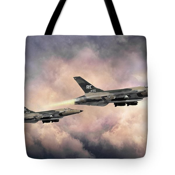 Tote Bag featuring the digital art F-105 Thunderchief by Peter Chilelli