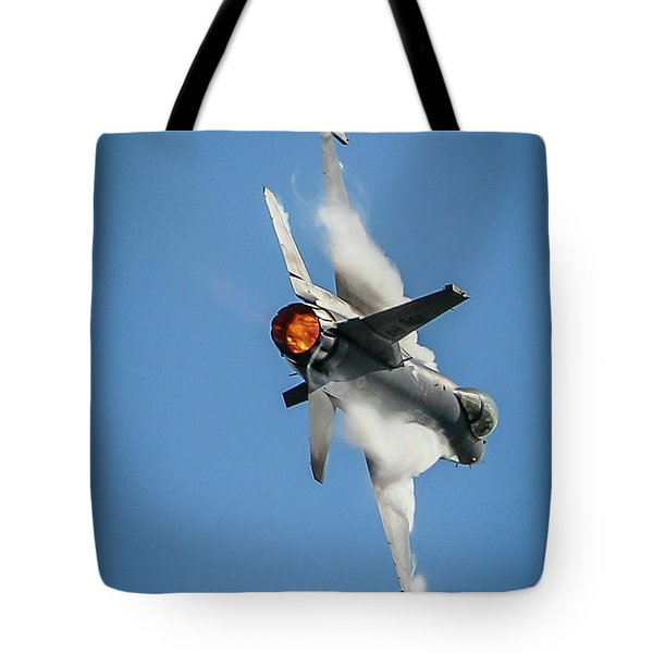 Tote Bag featuring the photograph F-16 Banks Right by Tom Claud