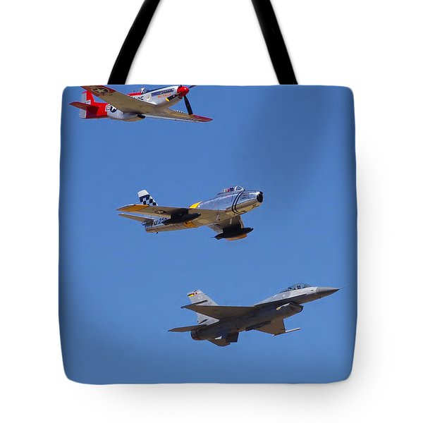 F-16 P-51d F-86 Heritage Flight- Flyby Tote Bag