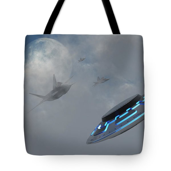 F-22 Stealth Fighter Jets On The Trail Tote Bag by Mark Stevenson