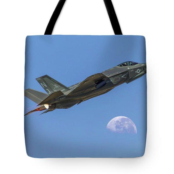 F-35 Shoots The Moon Tote Bag