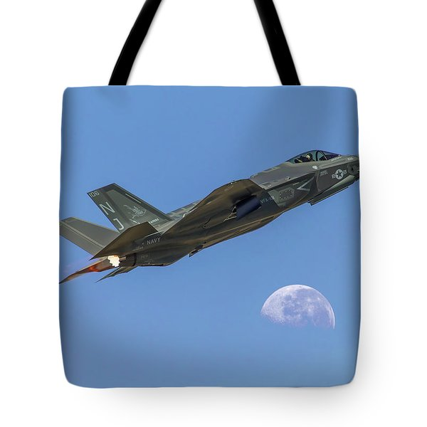 F-35 Shoots The Moon Tote Bag