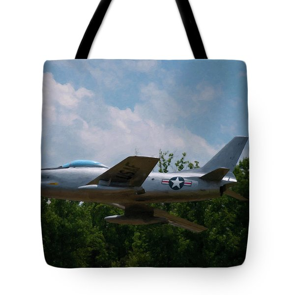Tote Bag featuring the digital art F-86l Sabre by Chris Flees