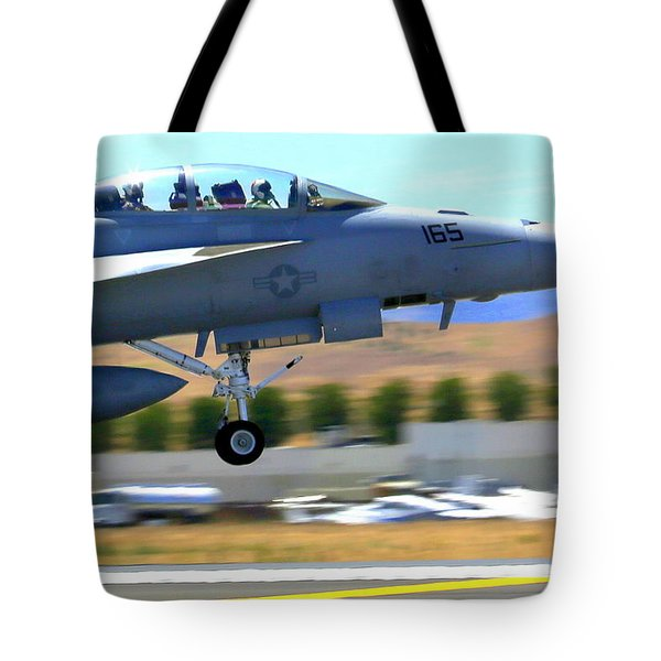 Tote Bag featuring the photograph F/a 18 Hornet Departs Hollister Air Show by John King