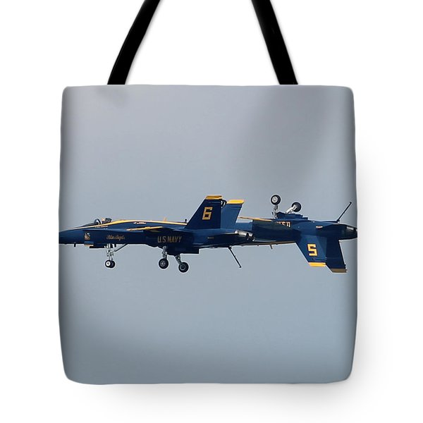 F/a 18 Hornet In Tandem Tote Bag by Robert Banach