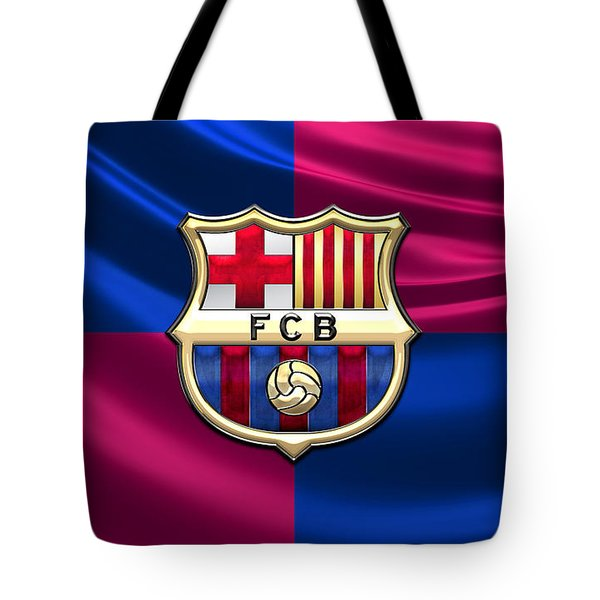 F. C. Barcelona - 3d Badge Over Flag Tote Bag