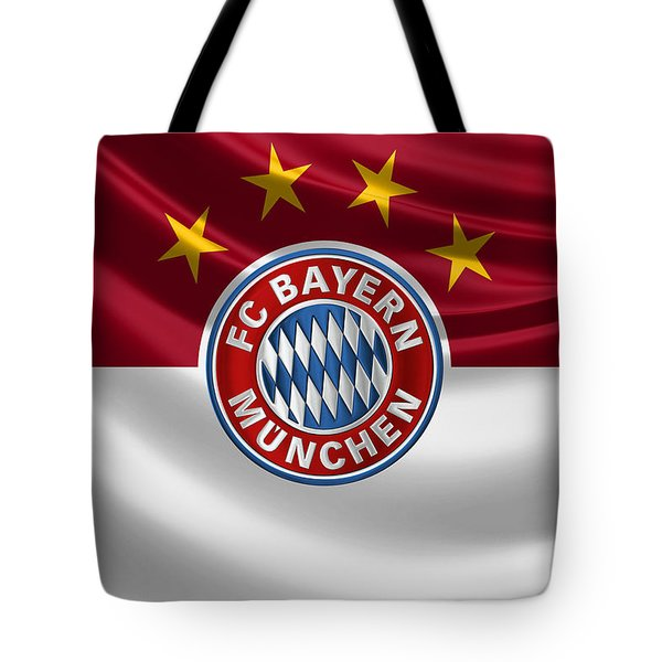 F C Bayern Munich - 3 D Badge Over Flag Tote Bag