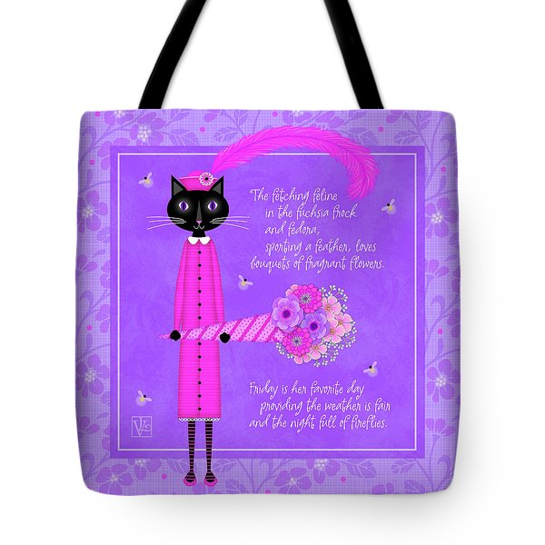 F Is For Fetching Feline And Flowers Tote Bag