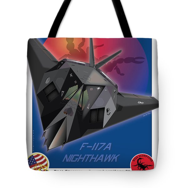 Tote Bag featuring the drawing F117a Nighthawk by Kenneth De Tore