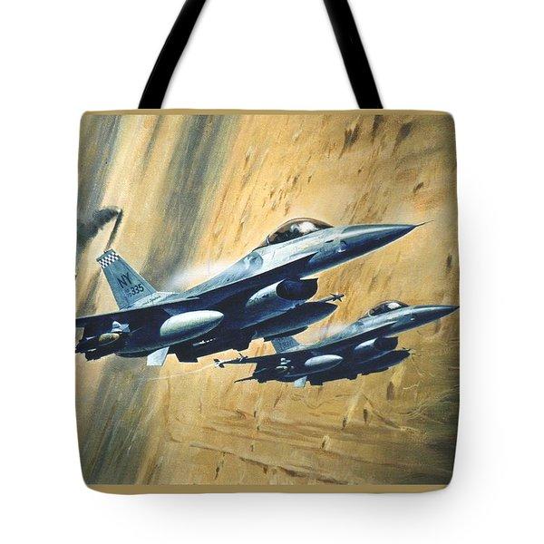 'f16 Desert Storm' Tote Bag