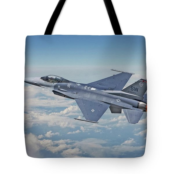 Tote Bag featuring the digital art F16 - Fighting Falcon by Pat Speirs
