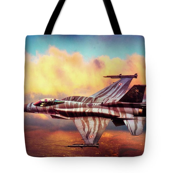 Tote Bag featuring the photograph F16c Fighting Falcon by Chris Lord