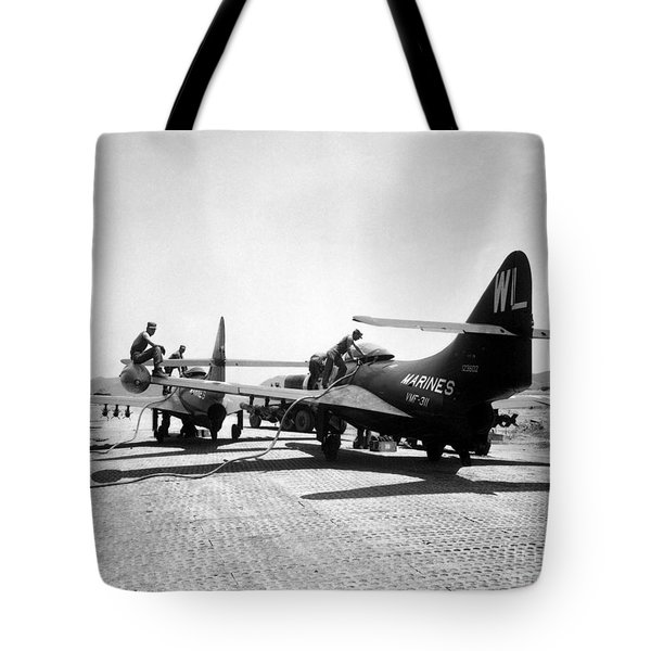 F9f Panther Jets Being Refueled Tote Bag by Stocktrek Images