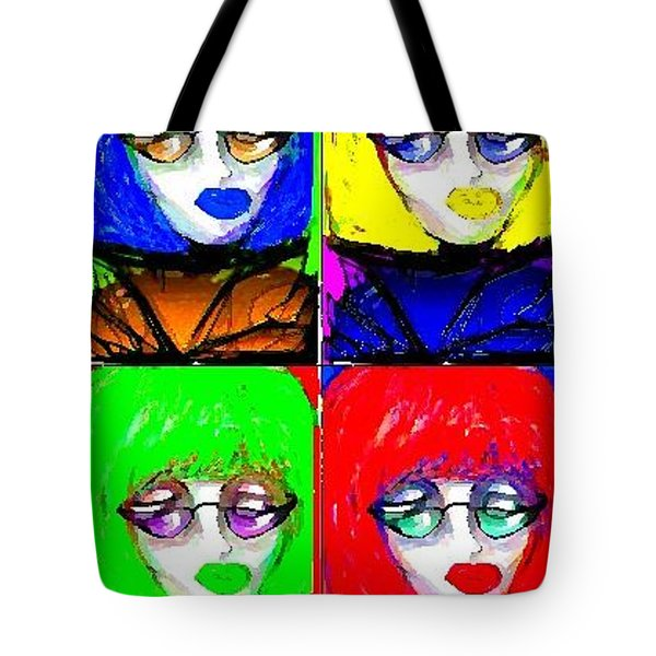 Tote Bag featuring the greeting card Fab Faces by Rae Chichilnitsky