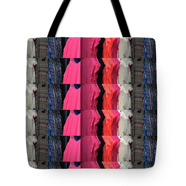 Tote Bag featuring the photograph Fabric Texture Fashion Clothing Colorful Pattern Christmas Holidays Festivals Tshirts Pillows Bags by Navin Joshi