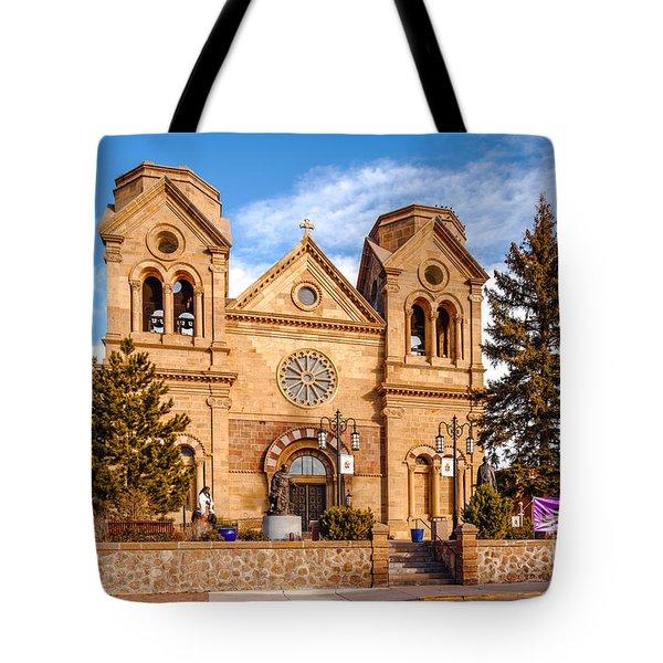 Facade Of Cathedral Basilica Of Saint Francis Of Assisi - Santa Fe New Mexico Tote Bag