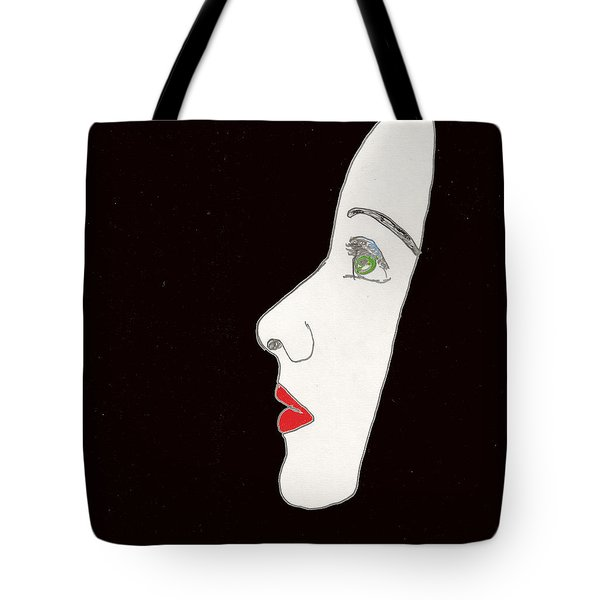 Tote Bag featuring the drawing Face In Profile by W And F Kreations