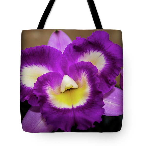 Tote Bag featuring the photograph Face In The Orchid by Randy Sylvia